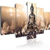 murando - Cuadro en Lienzo Buda Zen SPA 200x100 cm Impresión de 5 Piezas Material Tejido no Tejido Impresión Artística Imagen Gráfica Decoracion de Pared Flores Naturaleza h-C-0012-b-n