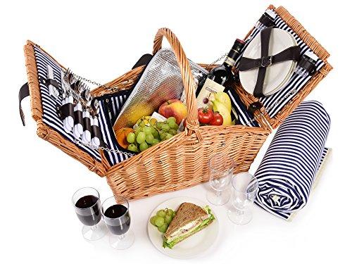 Sänger Picknickkorb Sylt 24 teiliges Picknick-Tasche Set für 4 Personen aus Weidengeflecht, Weidenkorb, Decke, Geschirr, Besteck, Salz-, Pfefferstreuer, Gläser, mit Zubehör, Camping, Outdoor Korb