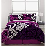 Black & Purple Bold Teen Girls Full Size Comforter Set (8 Piece Bed In A Bag)
