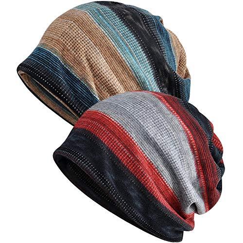 XYIYI Damen Mütze Chemo Hut Slouchy Kopfbedeckungen Kopf Wraps Krebshüte (2Stück Streifen-D)