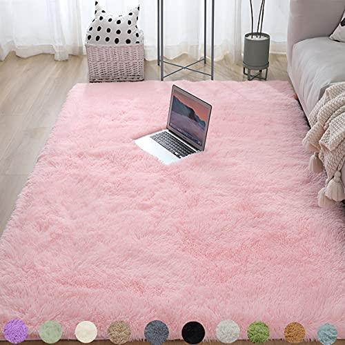 Alfombra mullida de color rosa para el invierno, cálida y gruesa, de lujo, suave, para interiores, para dormitorio, 120 x 160 cm