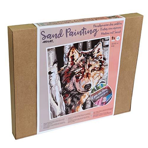 Arenart | 1 Lámina Lobo 38x46cm | para Pintar con Arenas de Colores | Manualidades para Adultos y Jóvenes | Dibujo Fácil | Pintar por números | +9 años
