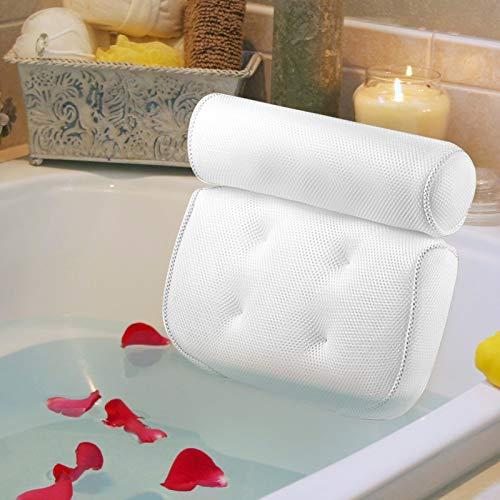 HEPAZ Almohada de Baño,Almohada para banera con 6 ventosas Antideslizantes,cojín de baño ergonómica,Malla 3D,Apoyar la Cabeza,el Cuello,los Hombros,la Espalda relájate y cómodo(14.5 * 13.5in)