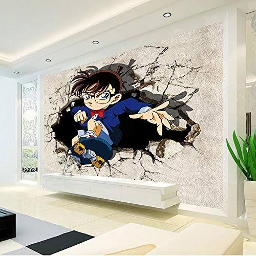 CSZBH 3D muurschildering zelfklevend behang Japanse anime detective tiener foto behang kinderen jongen slaapkamer 3D behang grote muur kunst kamer decoratie 520x290 cm (WxH) 11 stripes - self-adhesive