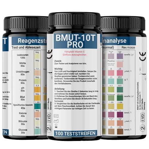 100x Urinstreifen mit 10 Indikatoren Gesundheitstest Urinanalysestreifen Ketose Glucose pH-Wert Teststreifen