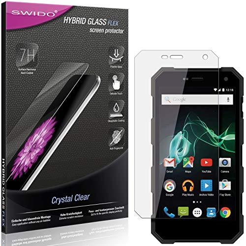 SWIDO Panzerglas Schutzfolie kompatibel mit Archos 50 Saphir Bildschirmschutz-Folie & Glas = biegsames HYBRIDGLAS, splitterfrei, Anti-Fingerprint KLAR - HD-Clear