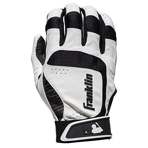 Franklin Sports MLB Adult Shok-Sorb Neo Batting Gloves, White/Black, Large