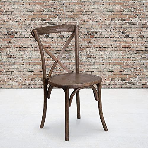 Flash Furniture XU-X-EA-GG HERCULES Series Stackable Early American Wood Cross Back Chair, 1 Pack