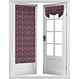 Cortinas para puerta, estilo hippie, flores florecientes con diseño abstracto de círculos coloridos, 1 panel de 66 x 172 cm, aislamiento térmico para ventana, color rosa chocolate y morado