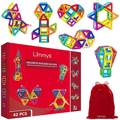 Limmys Blocchi Magnetici – Set di Costruzioni per Bambini e Bambine– Gioco Educativo STEM Ottima Idea Regalo – con 42 Pezzi + Libricino Idee da Costruire - Una Borsa Morbida Gratis