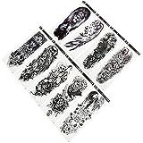 Beaupretty 9 Piezas de Tatuajes Temporales de Brazo Completo Hojas de Tatuaje para El Hombro Calcomanías para El Cuerpo Esqueleto de Cráneo Lobo León Tigre Ojo Tótem para Hombres Y Mujeres