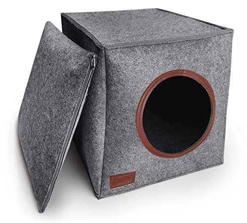 PurrCave® Katzenhöhle inkl. Kissen | Passend für z.B. IKEA® Expedit & Kallax Regale | Hochqualitativer Filz