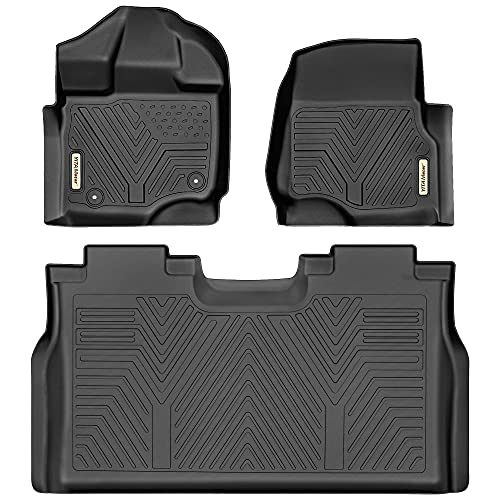 YITAMOTOR Floor Mats Compatible with F150, Custom Fit Floor Liners for 2015-2021 Ford F-150 SuperCrew Cab, 1st & 2nd Row All Weather Protection, Black