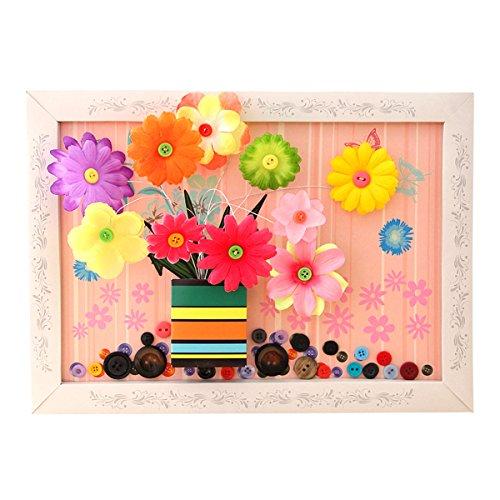 ABBY DIY Peinture de Bricolage Enfants de la Maternelle Matériel de Papier Fleur et Bouton Puzzle Jouets Educatifs pour Enfants