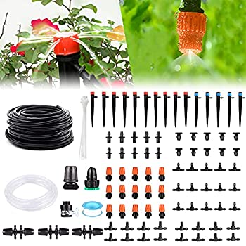 Drip Irrigation Kit 141FT Garden Irrigation System Adjustable Automatic Micro Irrigation Kits Misting Cooling System Saving Water Irrigation System for Greenhouse Patio Lawn 40M+3M