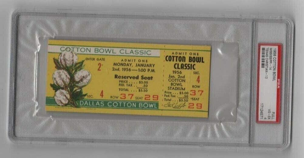 price 1956 Cotton Bowl Full Ticket Ole Rebels Frogs TCU v unisex Miss Horned