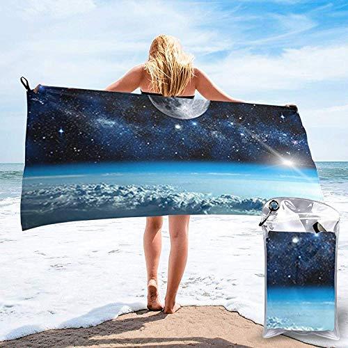 Toalla de baño Space Planet, Toalla de Playa, Uso Multiusos para Deportes, Viajes, súper Absorbente, Microfibra de Secado rápido Suave, Ligero, Blanco, 31.5 'x63