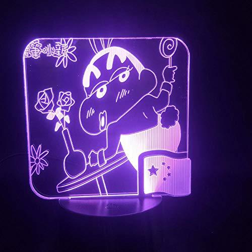 Lámpara De Ilusión 3D Luz De Noche Led Figura De Anime Crayón Lindo Shin-Chan Dibujos Animados Para Decoración De Habitación De Niños Lámpara De Mesa De 7/16 Colores Regalos Para Niños