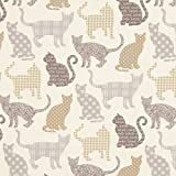 Fabulous Fabrics Cretonne Katzen Chipie – Creme/grau —