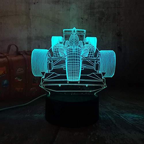 Luz LED 3D Cool Formula Racing Luz de noche con degradado de 7 colores Regalo de cumpleaños de Navidad Boy Toy R Light