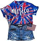 Kaei&Shi 4Th of July Shirts for Women, Merica Patriotic Tops, American Flag Tie Dye T Shirt, Independence Fourth of July Day Tshirt Tee Blue Medium