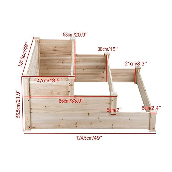 YAHEETECH 3 Tier Wooden Raised Garden Bed Elevated Planter Box Kit Outdoor Solid Wood 49''x49''x21.9'' 2 Selected material – Our raised garden bed is made of no paint, non-toxic 100% fir wood, which is known for its strength and dimensional stability as well as its natural resistance to rot and pests. The 1.5cm/ 0.6'' thick solid wood boards are only sanded to prevent any undesired injury caused by wood splinters. Useful & Practical – With this helpful planter, you can cultivate plants like vegetable, flowers, herbs in your patio, yard, garden and greenhouse, and make them more convenient to manage. Customizable design – This elevated planter provides 3 growing areas for different plants or planting methods. Each tier is connected with wood plugs, which allows this 3-tier garden bed to be easily transformed into 3 separate growing beds in different sizes if needed.