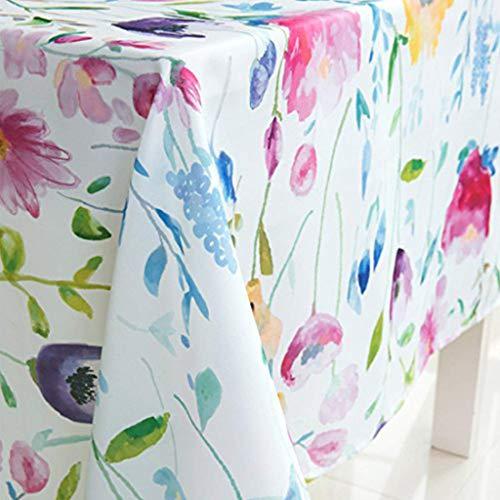 X-Labor Abwaschbar Tischdecke Eckig Wasserdicht Oxford Stoff Tischtuch Tischwäsche Pflegeleicht Garten Zimmer Tischdekoration Blumen 100 * 140cm