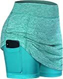 BLEVONH Golf Skorts for Women,High Waisted Sports Skirt Woman Solid Colors Loose Fit Sport Skort Ladies Tennis Skirts with Shorts Underneath Quick Dry Fabric Workout Outfit Turquoise L