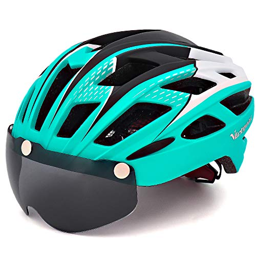 Victgoal Cycle Bike Helmet with Detachable Magnetic Goggles Visor Shield for Women Men, Cycling Mountain & Road Bicycle Helmets Adjustable Adult Safety Protection and Breathable (New Cyan)