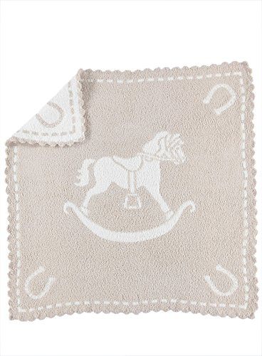 Barefoot Dreams CozyChic Scalloped Baby Receiving Blanket - Stone & Rocking Horse