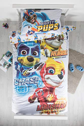 Paw Patrol Super Pups Single Reversible Two Sided Blue Official Bedding Duvet Cover with Matching Pillow Case