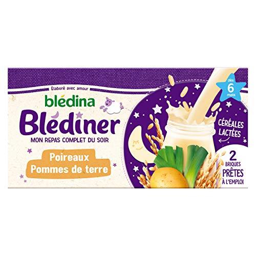 Blédina Blédîner, Dès 6 Mois, Céréales bébé Lactées, Légumes, Pommes de Terre, 250ml (Pack de 2)