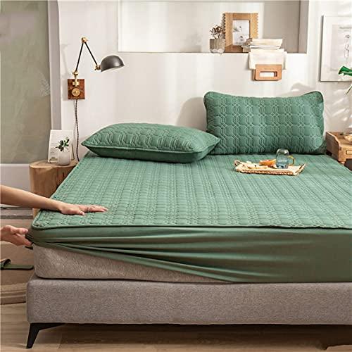 LINGBD Bedding - Protector De Colchón Acolchado Microfibra - Transpirable - Funda para Colchon Estira hasta,Green2,150 * 200+30cm