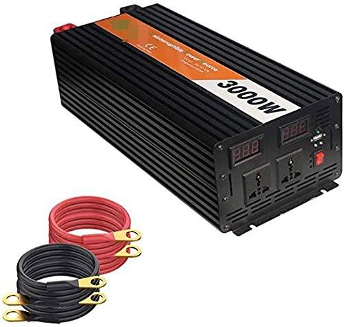 Inversor de 3000 vatios (pico 6000W) Inversor de la onda sinusoidal modificado 12V / 24V DC a 120V / 220V AC Inversor de alimentación conversor conversor con enchufe de CA DUAL y 2 productos de calida
