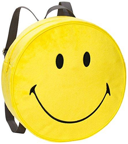 NICI 40727–Mochila Smiley Amarillo Peluche Diámetro 30x 10cm