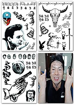 DaLin Temporary Tattoos 3 Sheets Face Neck Hands Arm Tattoos Sticker Fake Tattoos for Halloween Costume Accessories and Parties