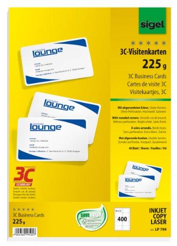 SIGEL LP799 Biglietti da visita, 3C, con taglio netto tutt'intorno, bianco, 85x55 mm (A4), 225 g, 400 pz.=40 fg.