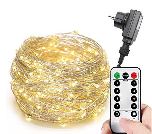 100/200/300er LED Mikro Silberdraht Lichterkette Strombetrieb Deko für Innen Außen Warmweiß gresonic (Warmweiß, 200LED 8 Modi Timer Dimmbar)