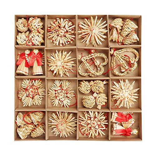 BELLE VOUS Decorazioni Natalizie Paglia Natalizia (48pz) - Addobbi Natalizi in Legno Paglia da Appendere all'Albero Natale Fatti a Mano con Spago - Decorazioni Albero di Natale Grano Naturale