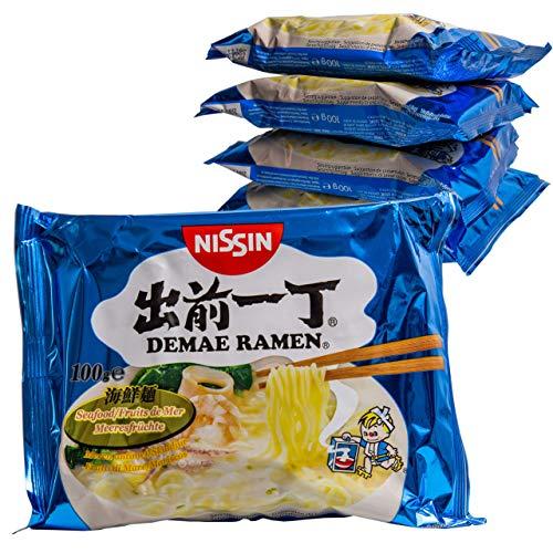 Ramen Nissin Fideos Instantáneos paquetes de 100gr | Fácil de preparar | Noodles de Japón (Marisco, 5)