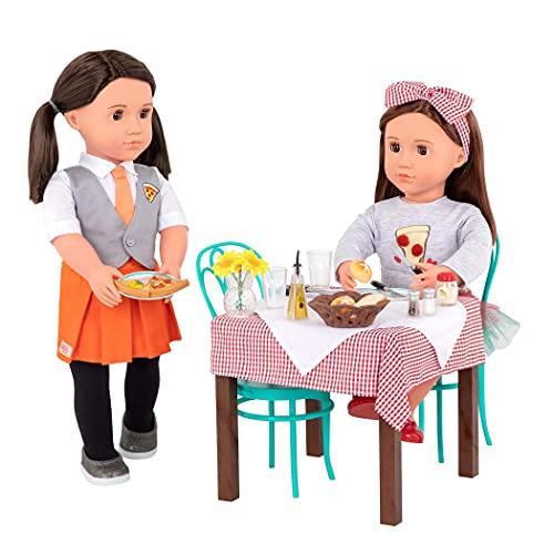 Our Generation - Pizzeria Tisch und Stühle - Zubehör für 46cm Puppen, Tisch und Stühle mit Accessoires und Geschirr - ab 3 Jahren - 45349 BD35136Z Mehrfarbig