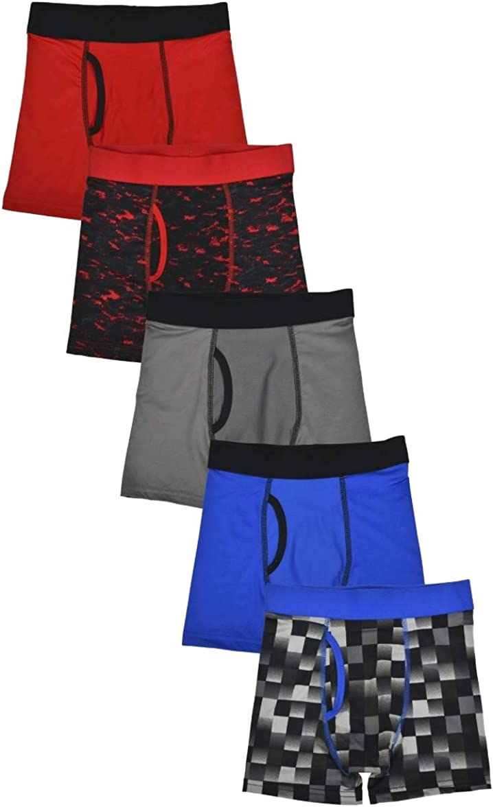 Boy's Red Assorted DriWorks 5 Pack Performance Boxer Briefs