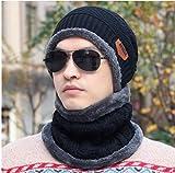 Gorro de Punto Tejer Beanie Crochet Babero Informal Holgado para Hombre, además de Terciopelo cálido, Babero, 2 Juegos