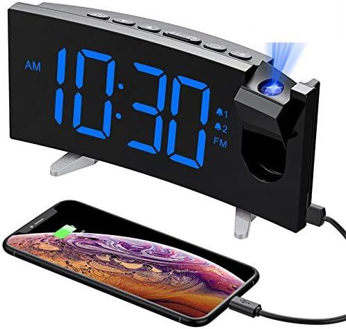 PICTEK Projection Alarm Clock 15 FM Radio Alarm Clock 5 Large Curved LED Display 6 Dimmer Dual product image