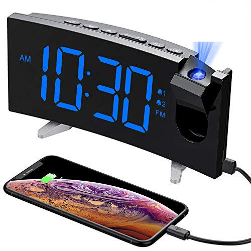 PICTEK Projection Alarm Clock, 15 FM Radio Alarm Clock, 5'' Large Curved LED Display, 6 Dimmer, Dual Alarm with 4 Alarm Sounds, Digital Clock for Bedrooms Ceiling, USB Phone Charger, Snooze