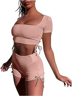 Portazai Women Bodycon 2 Pieces Outfits Backless Crop Tank Top Bandage Shorts Pants Yoga Sports Tracksuit Set Sportswear