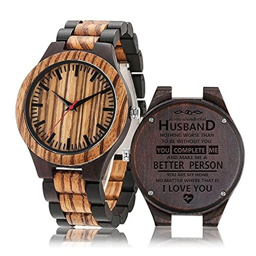 Relojes de Cuarzo Relojes para Hombres Relojes de Madera Retro a mi Maravilloso Marido Reloj de Cuarzo Mejor cumpleaños Souvenir Lovers Gifts JIAQII (Color : Wood Watch)