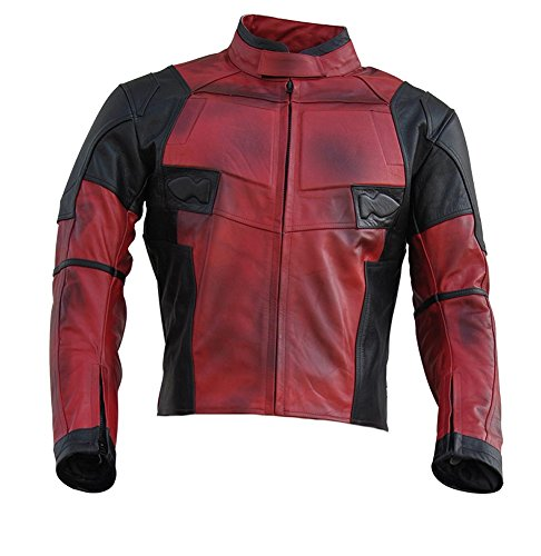 Classyak Men's DP Real Leather Motorcycle Jacket Cow Fire Red Medium