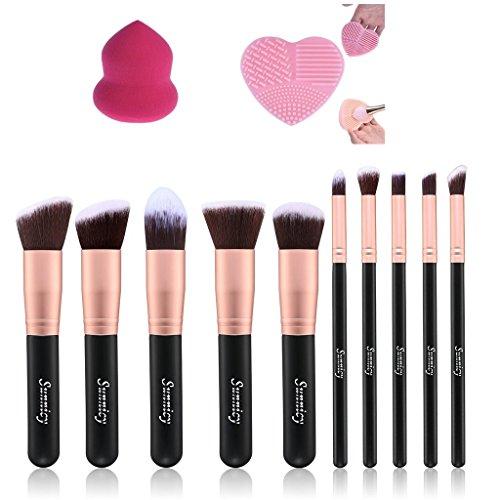 Kit De Pinceau Maquillage Professionnel 10PCS Doré Eyebrow Shadow Blush Fond De Teint Anti-Cerne + Éponge de maquillage + Nettoyant pour pinceau maquillage