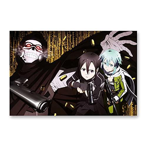 ZXCVB Póster de anime Espada Arte en línea AsunaYuuki Batalla Póster decorativo al óleo, lienzo para pared, sala de estar o dormitorio pintura 60 x 90 cm